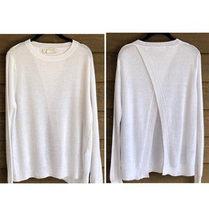 A.L.C. Split Back White Linen Blend L/S Sweater S